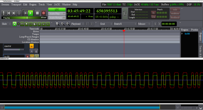 Screenshot showing A3 with incoming(green) and re-generated(red) LTC waveform